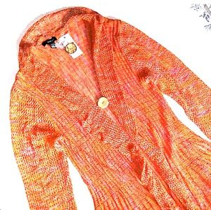 NWT KaKtus Pumpkin Loose Knit Long Frilly Cardigan